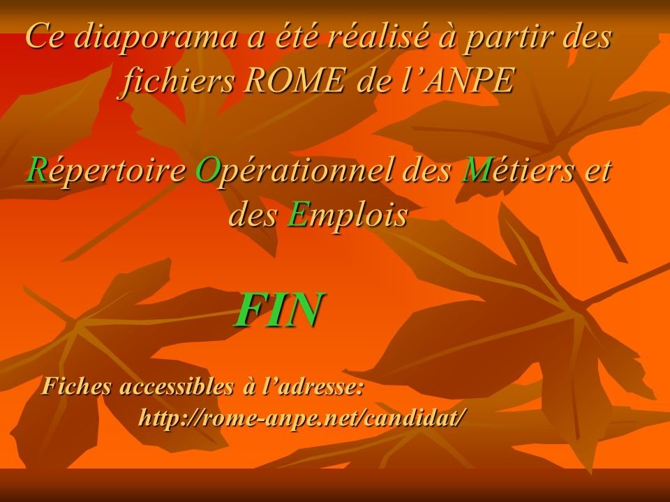 Ce diaporama a été réalisé à partir des fichiers ROME de l'ANPE Répertoire Opérationnel des Métiers et des Emplois