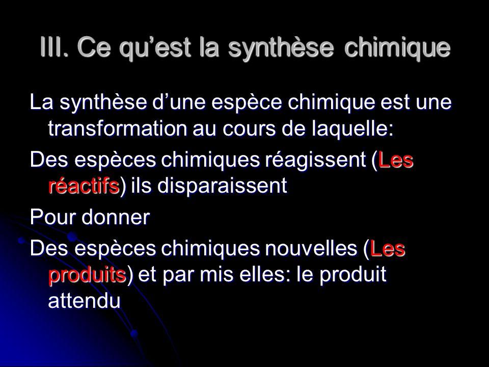 III. Ce qu'est la synthèse chimique
