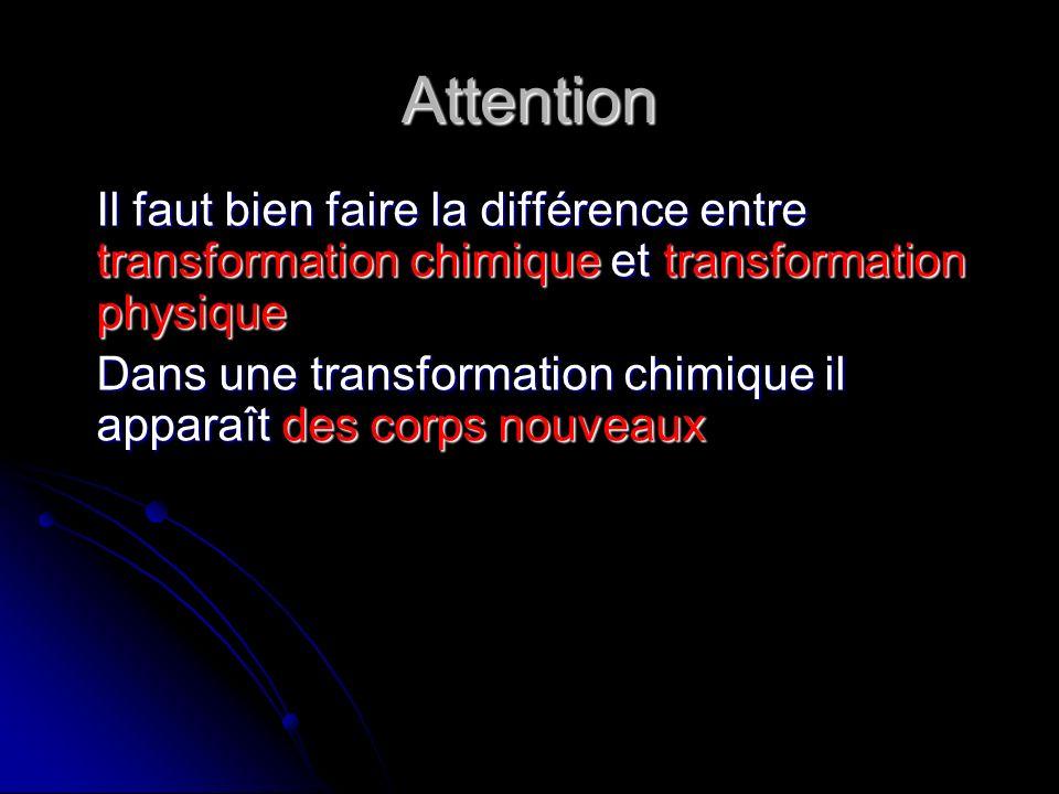 Attention Il faut bien faire la différence entre transformation chimique et transformation physique.