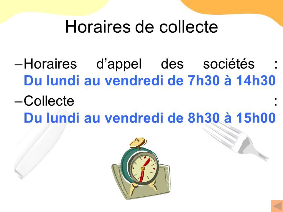 Horaires de collecte Horaires d'appel des sociétés : Du lundi au vendredi de 7h30 à 14h30.