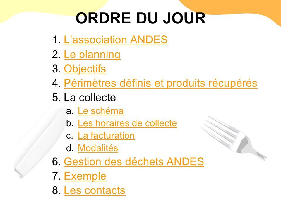 ORDRE DU JOUR L'association ANDES Le planning Objectifs
