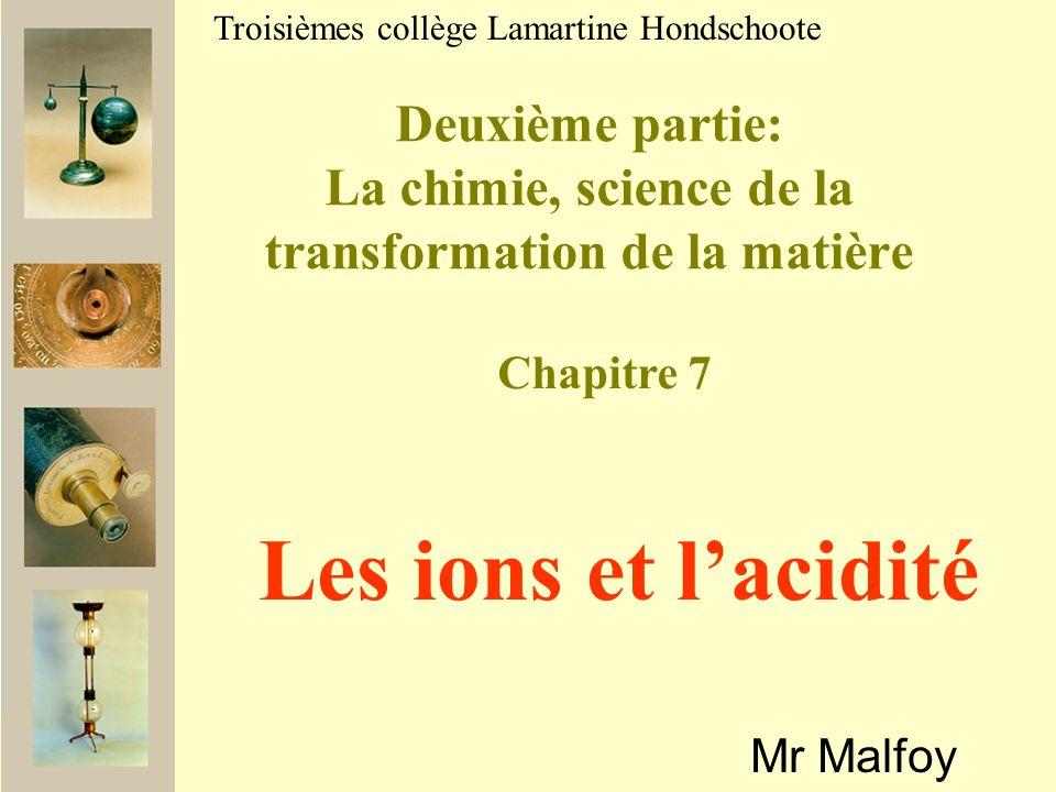Deuxième partie: La chimie, science de la transformation de la matière