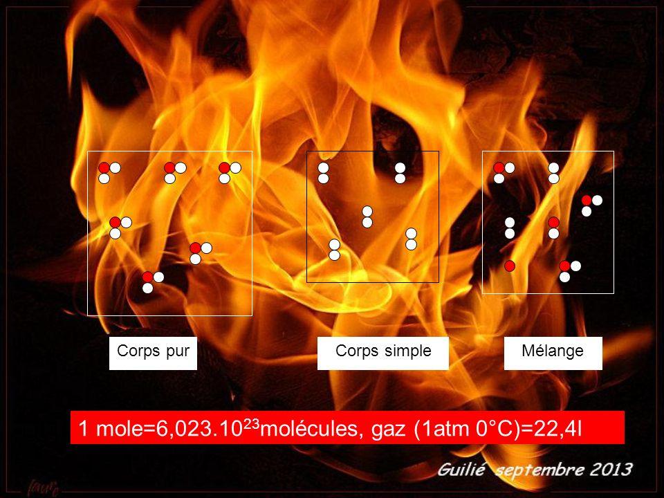 1 mole=6,023.1023molécules, gaz (1atm 0°C)=22,4l