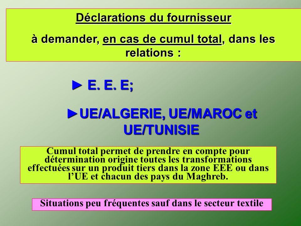 ► E. E. E; ►UE/ALGERIE, UE/MAROC et UE/TUNISIE