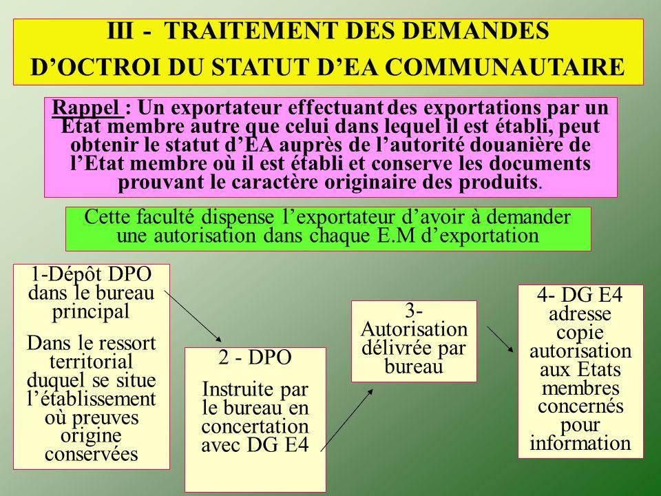 III - TRAITEMENT DES DEMANDES D'OCTROI DU STATUT D'EA COMMUNAUTAIRE