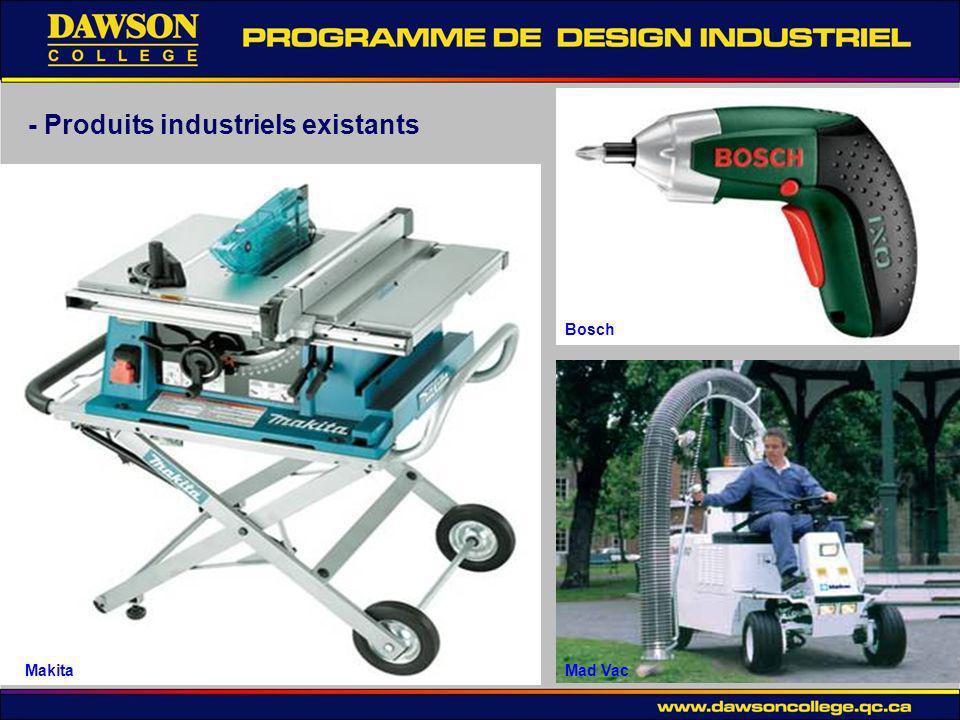 - Produits industriels existants