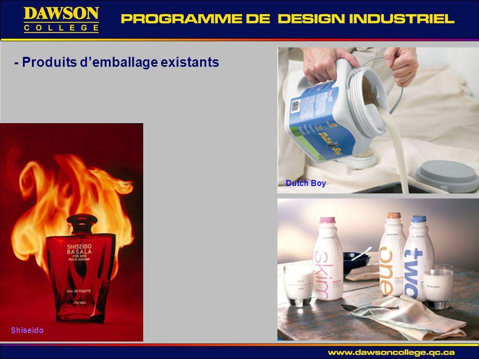 - Produits d'emballage existants