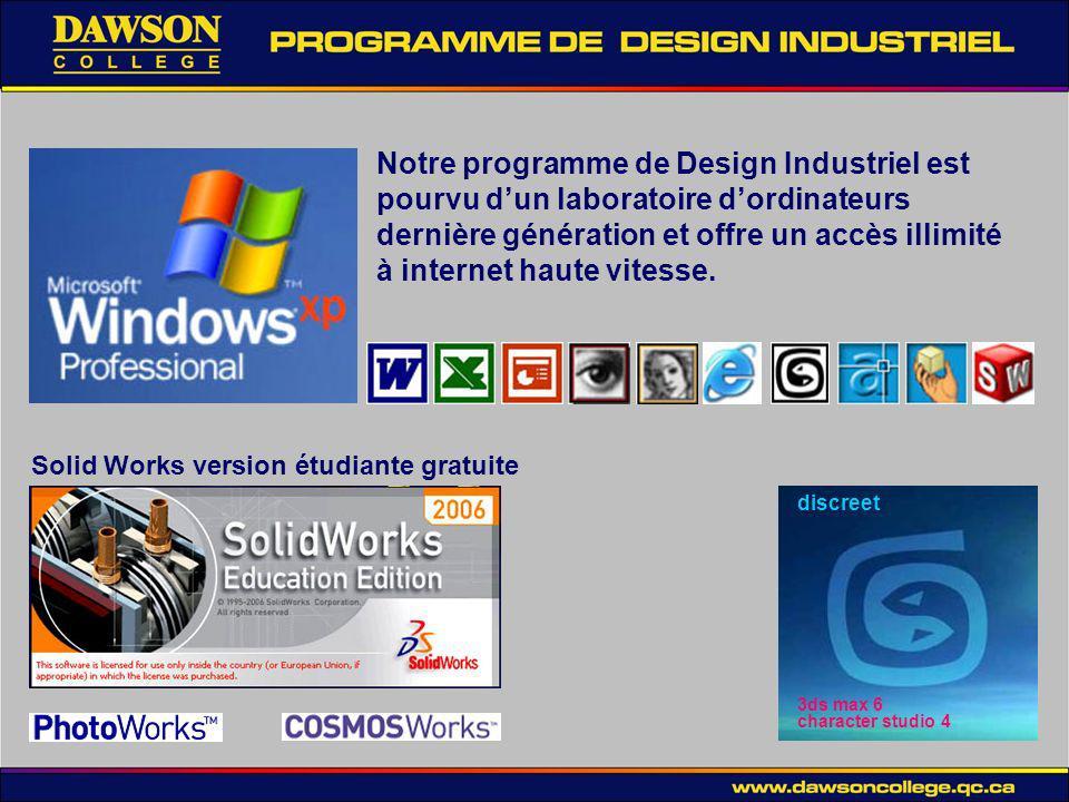 Notre programme de Design Industriel est pourvu d'un laboratoire d'ordinateurs dernière génération et offre un accès illimité à internet haute vitesse.