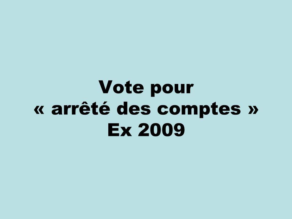 Vote pour « arrêté des comptes » Ex 2009