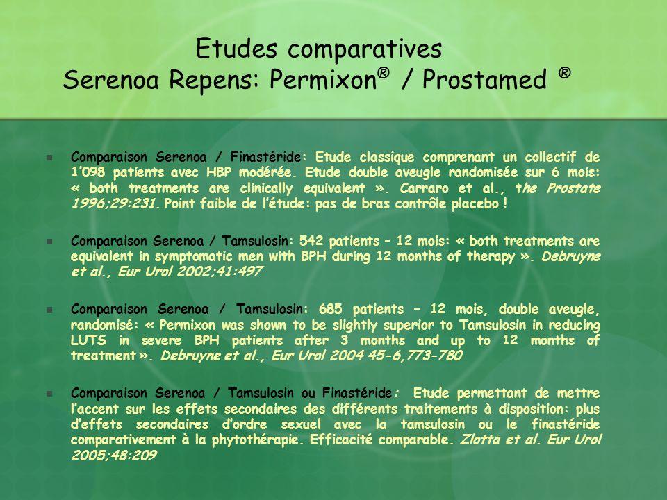 Etudes comparatives Serenoa Repens: Permixon® / Prostamed ®