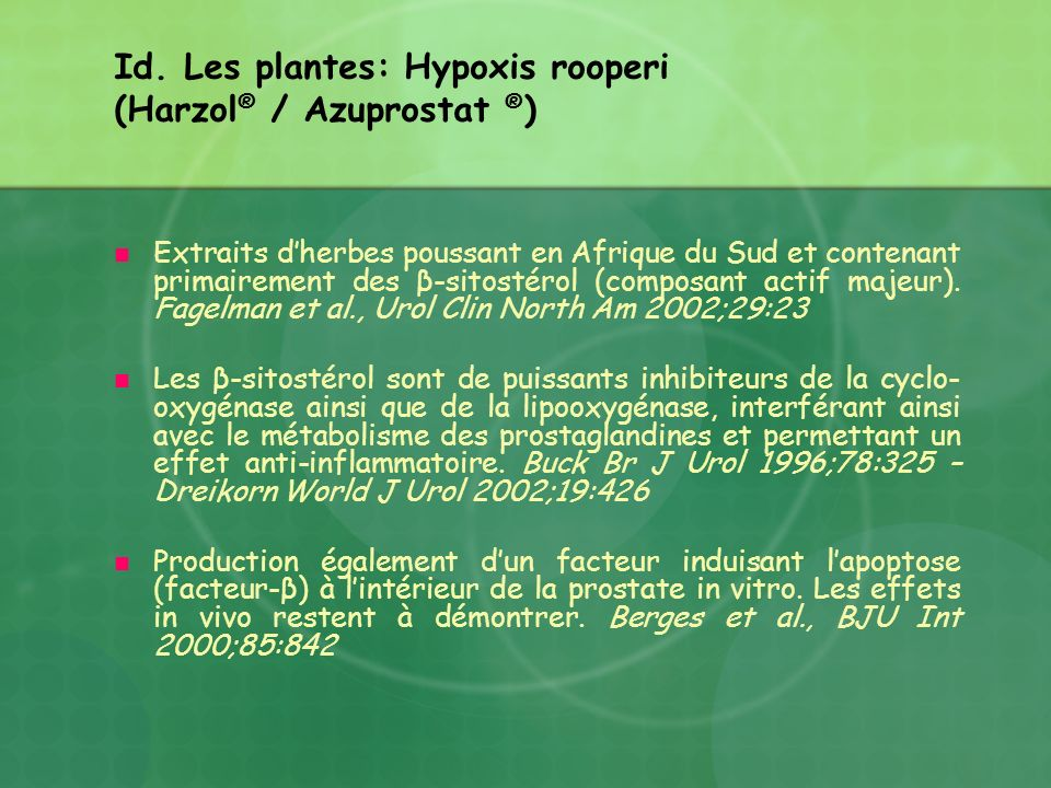 Id. Les plantes: Hypoxis rooperi (Harzol® / Azuprostat ®)