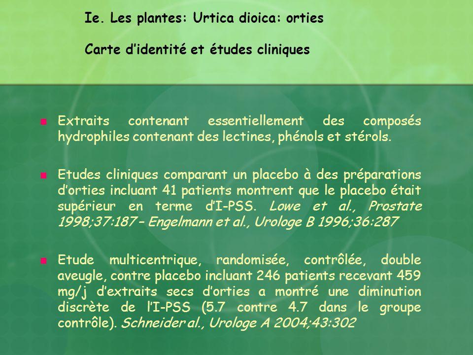 Ie. Les plantes: Urtica dioica: orties Carte d'identité et études cliniques