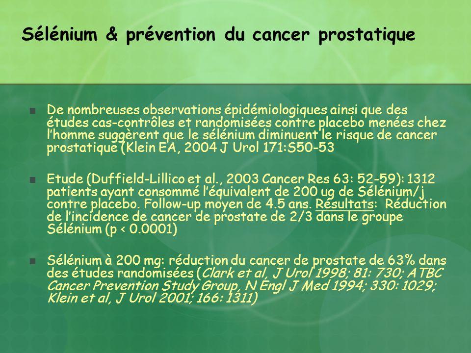 Sélénium & prévention du cancer prostatique