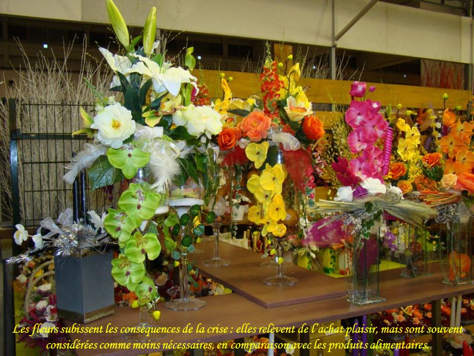 Les fleurs subissent les conséquences de la crise : elles relèvent de l'achat plaisir, mais sont souvent considérées comme moins nécessaires, en comparaison avec les produits alimentaires.