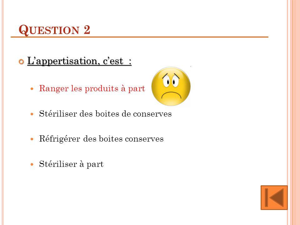 Question 2 L'appertisation, c'est : Ranger les produits à part