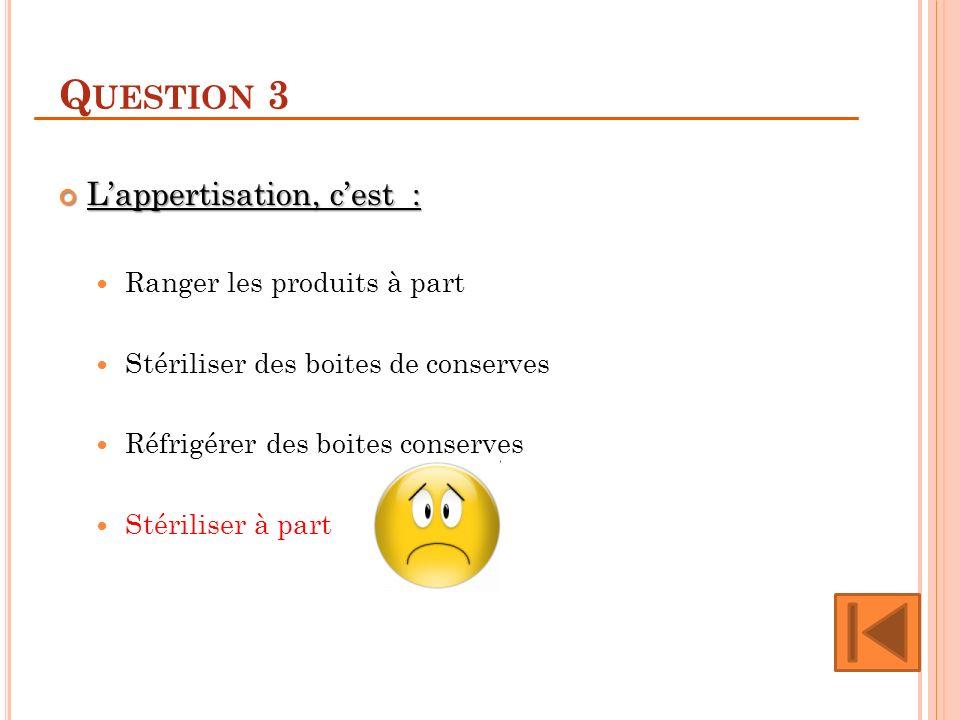 Question 3 L'appertisation, c'est : Ranger les produits à part