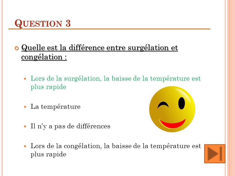 Question 3 Quelle est la différence entre surgélation et congélation :