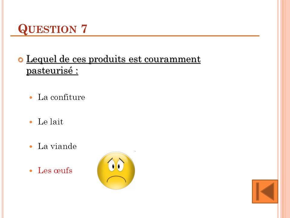 Question 7 Lequel de ces produits est couramment pasteurisé :