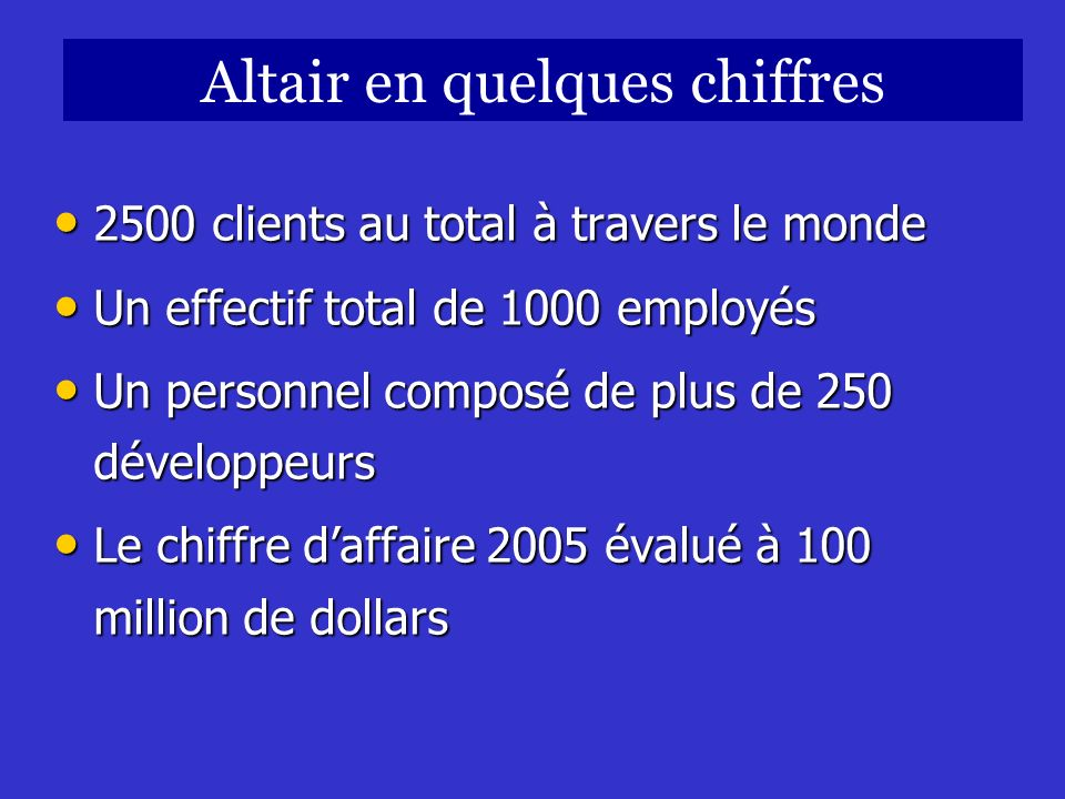 Altair en quelques chiffres