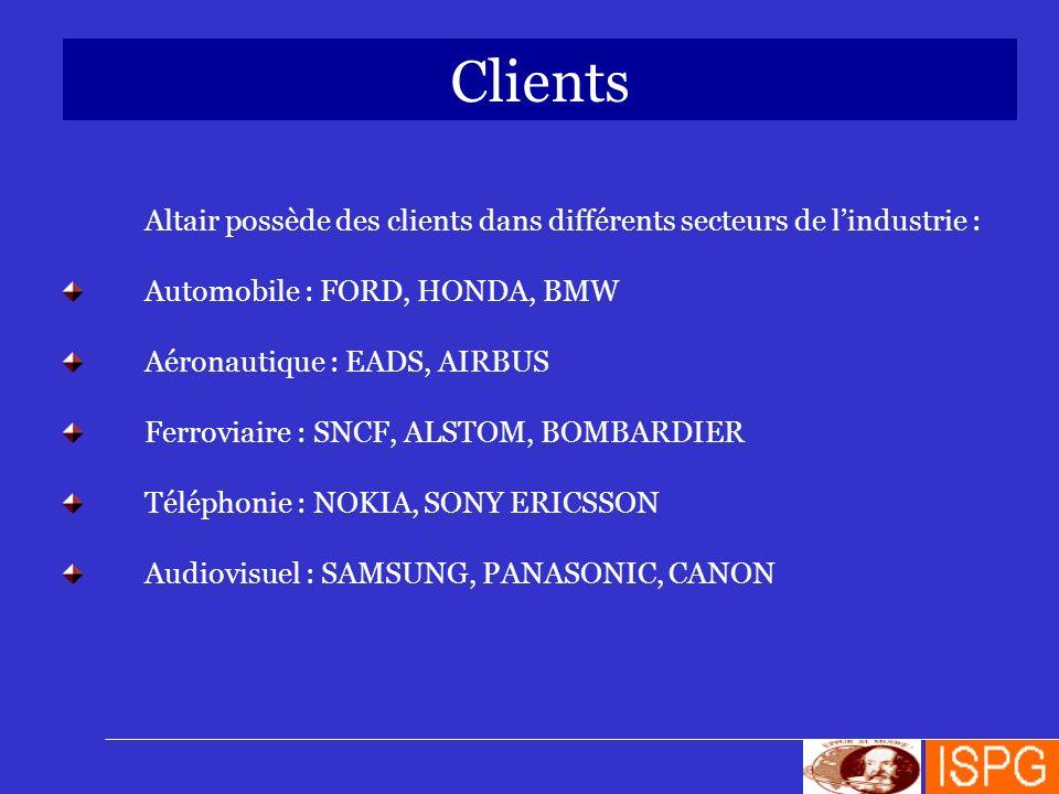 Clients Altair possède des clients dans différents secteurs de l'industrie : Automobile : FORD, HONDA, BMW.