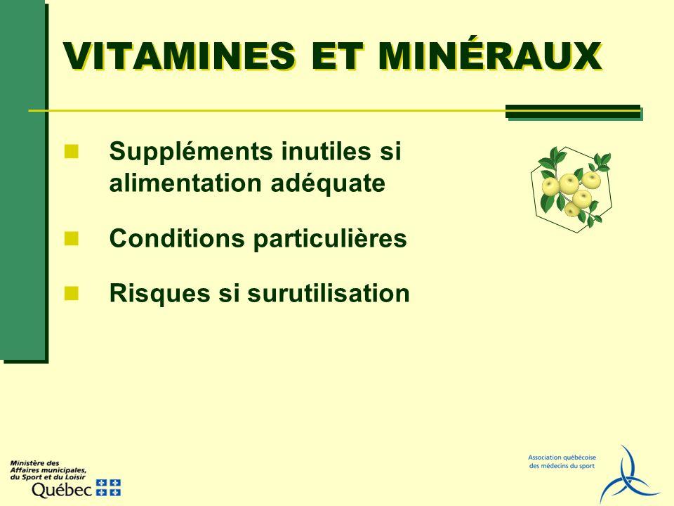 VITAMINES ET MINÉRAUX Suppléments inutiles si alimentation adéquate