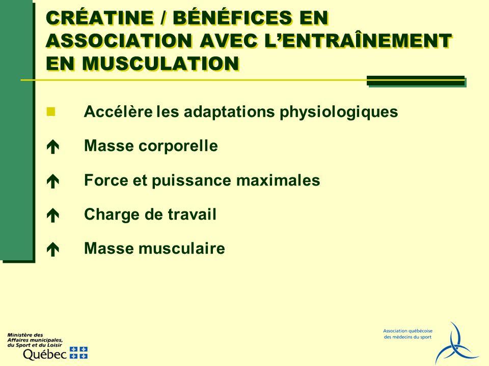 CRÉATINE / BÉNÉFICES EN ASSOCIATION AVEC L'ENTRAÎNEMENT EN MUSCULATION