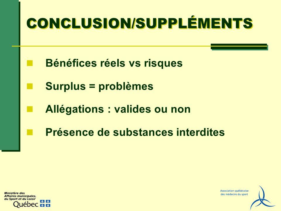 CONCLUSION/SUPPLÉMENTS