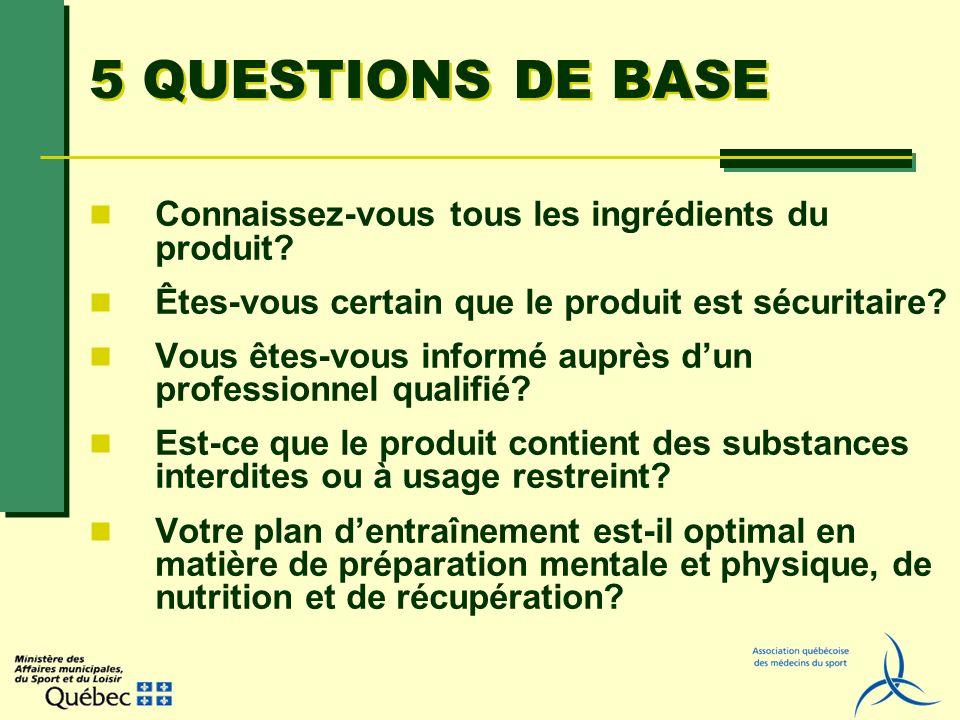 5 QUESTIONS DE BASE Connaissez-vous tous les ingrédients du produit