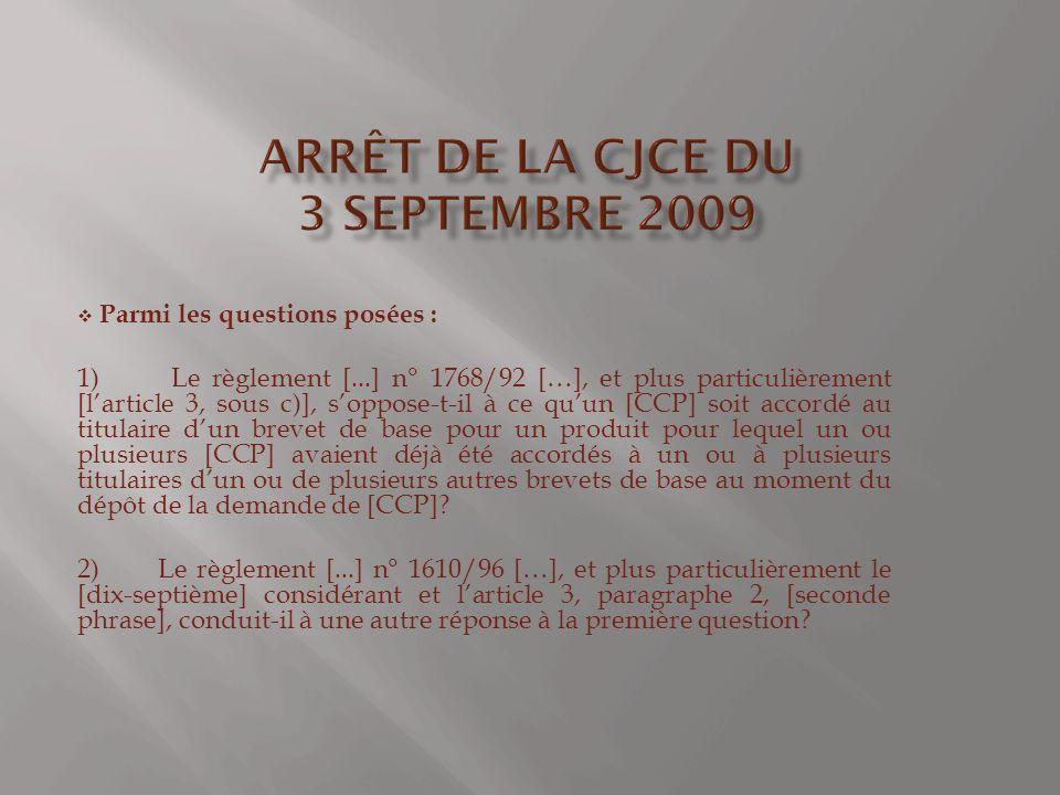 Arrêt de la CJCE du 3 septembre 2009