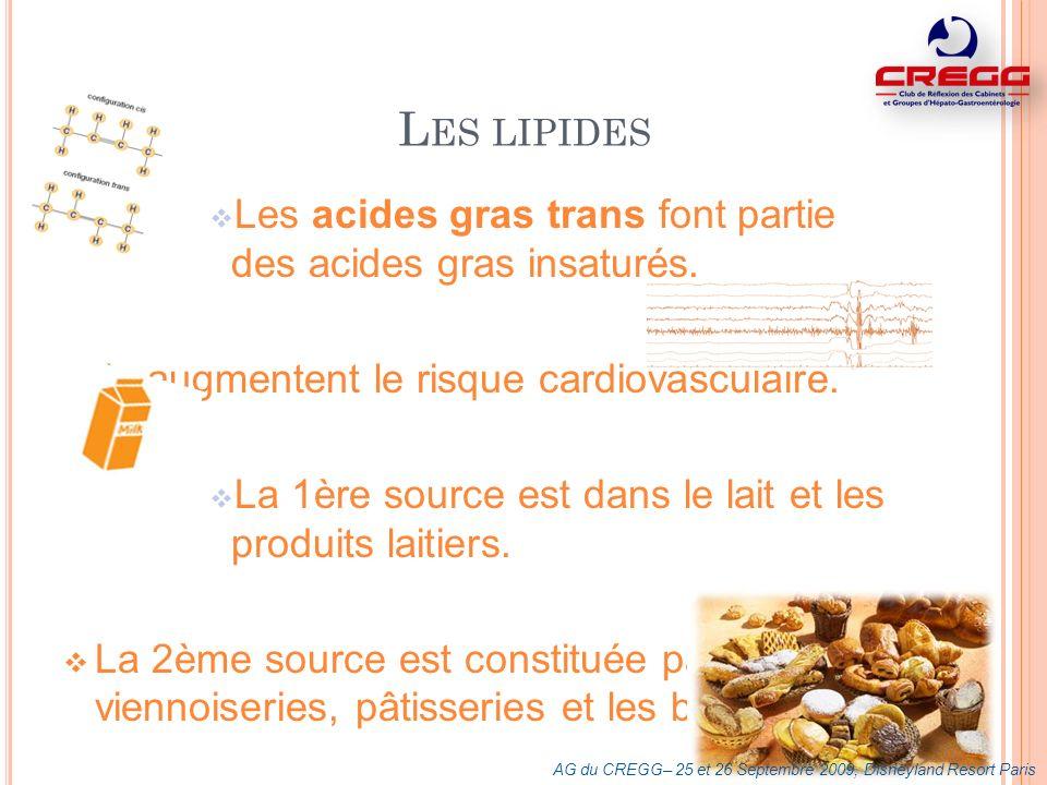 Les lipides Les acides gras trans font partie des acides gras insaturés. Ils augmentent le risque cardiovasculaire.