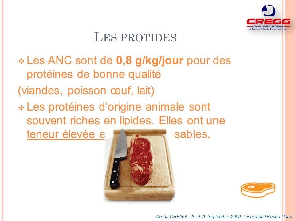 Les protides Les ANC sont de 0,8 g/kg/jour pour des protéines de bonne qualité. (viandes, poisson œuf, lait)