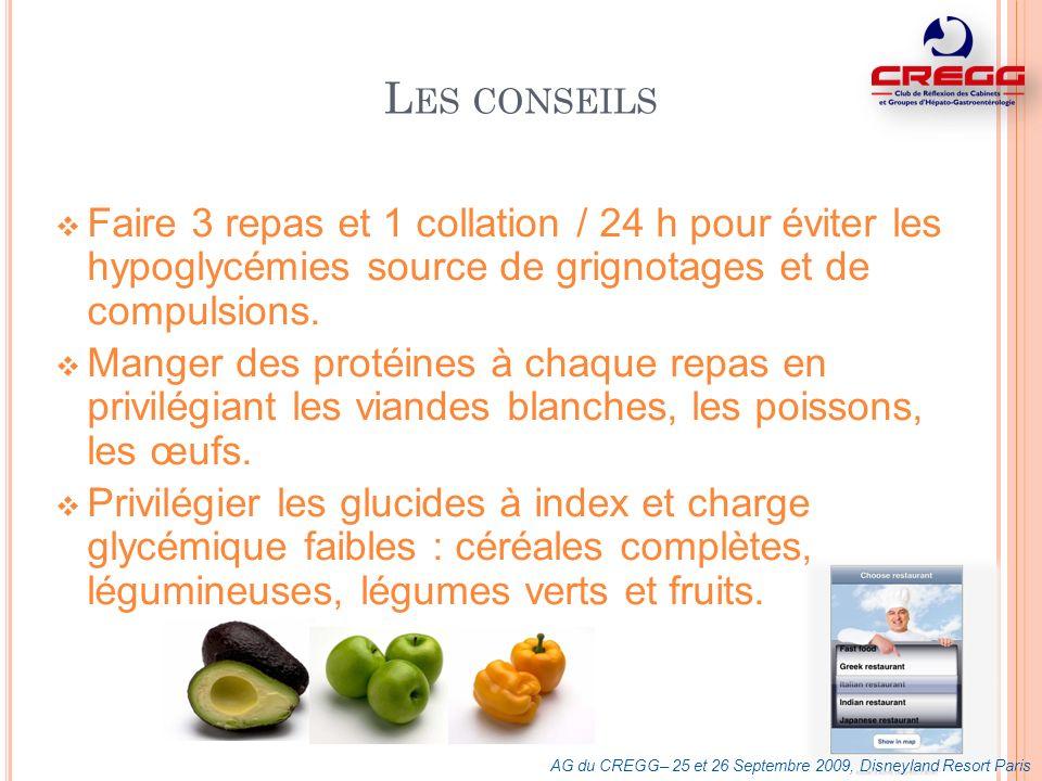 Les conseils Faire 3 repas et 1 collation / 24 h pour éviter les hypoglycémies source de grignotages et de compulsions.