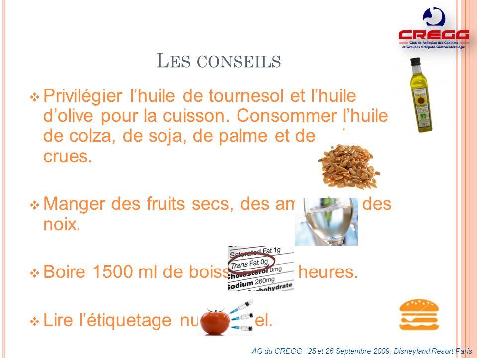 Les conseils Privilégier l'huile de tournesol et l'huile d'olive pour la cuisson. Consommer l'huile de colza, de soja, de palme et de noix crues.