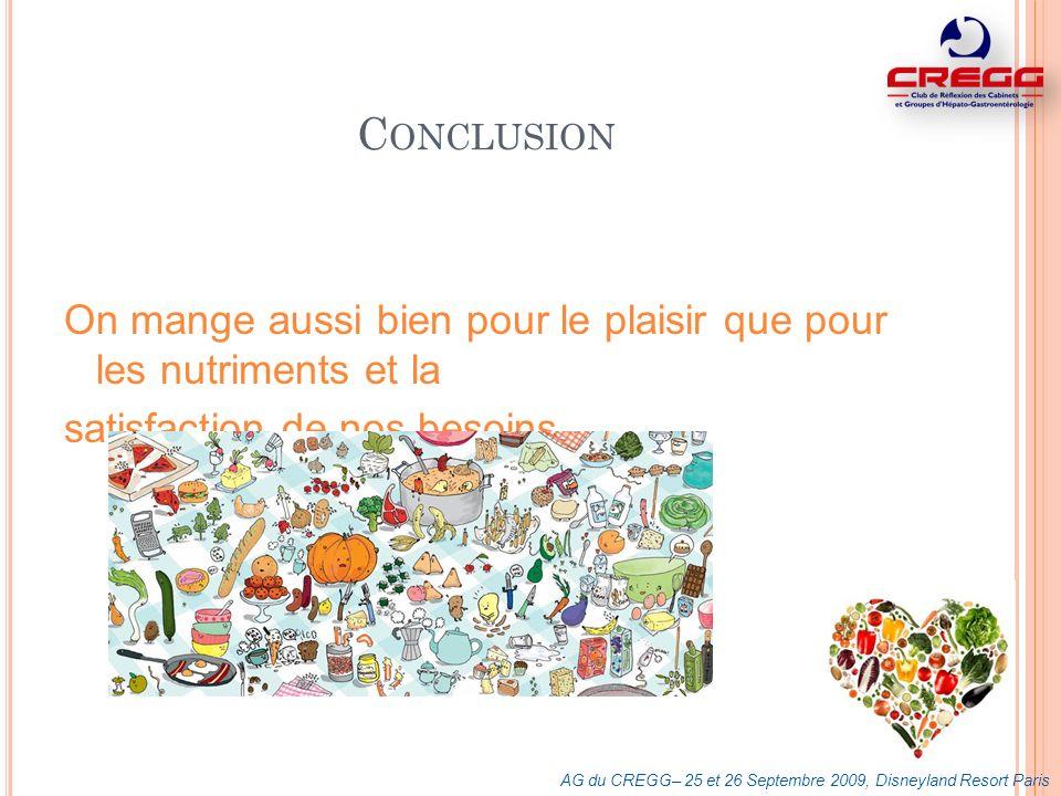 Conclusion On mange aussi bien pour le plaisir que pour les nutriments et la. satisfaction de nos besoins.
