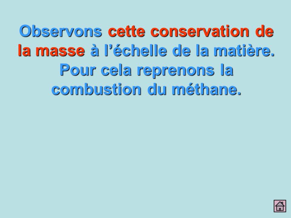 Observons cette conservation de la masse à l'échelle de la matière