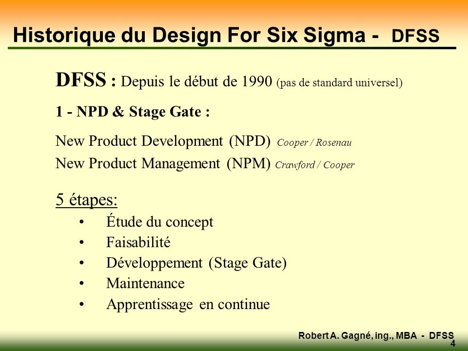 Historique du Design For Six Sigma - DFSS