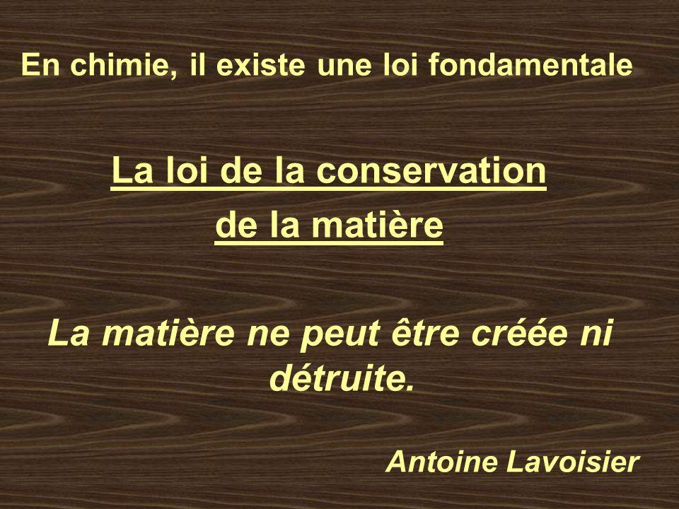 La loi de la conservation La matière ne peut être créée ni détruite.