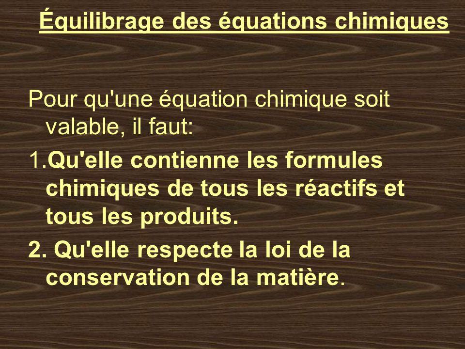 Équilibrage des équations chimiques