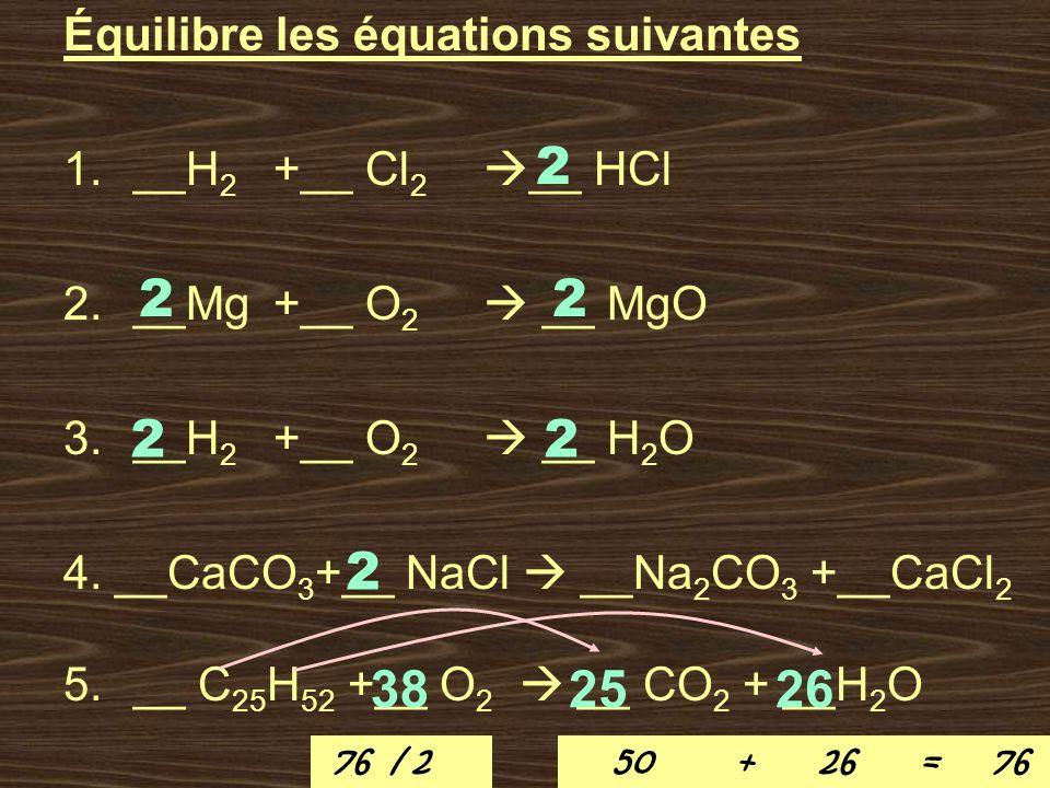 2 2 2 2 2 2 38 25 26 Équilibre les équations suivantes