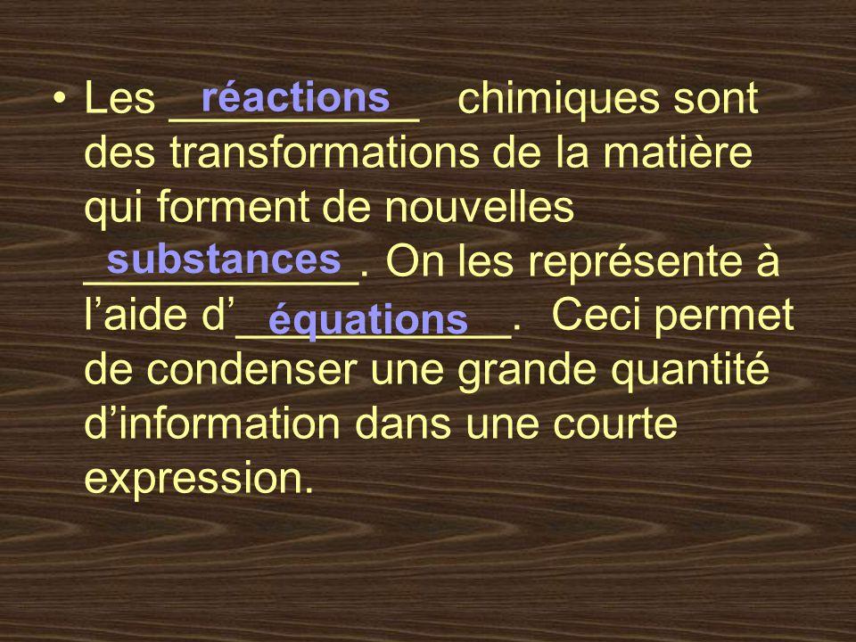Les __________ chimiques sont des transformations de la matière qui forment de nouvelles ___________. On les représente à l'aide d'___________. Ceci permet de condenser une grande quantité d'information dans une courte expression.