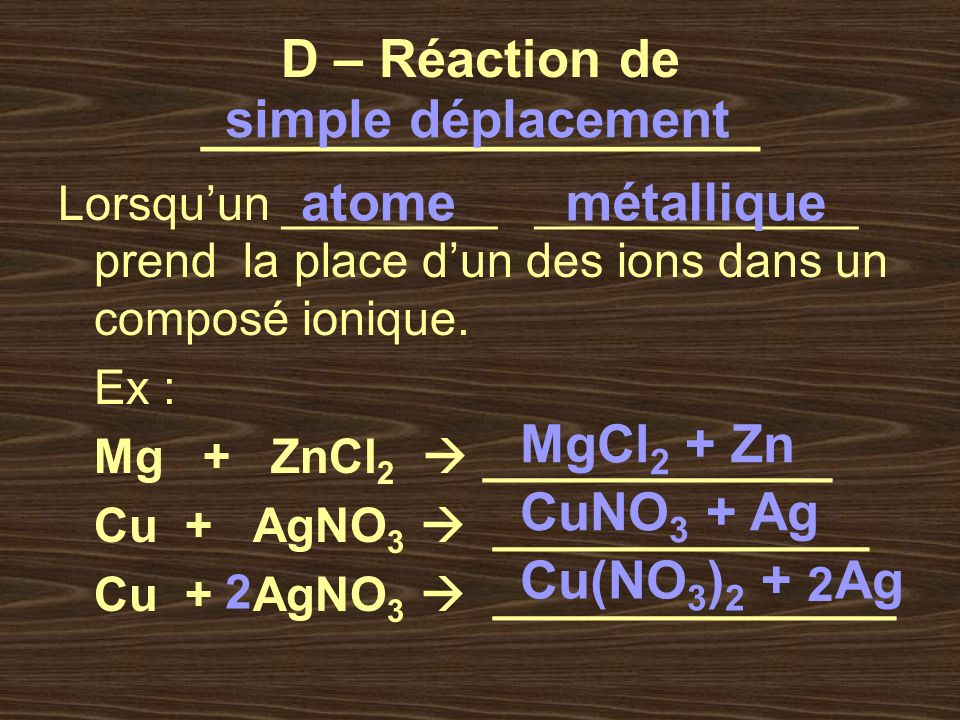 D – Réaction de ___________________