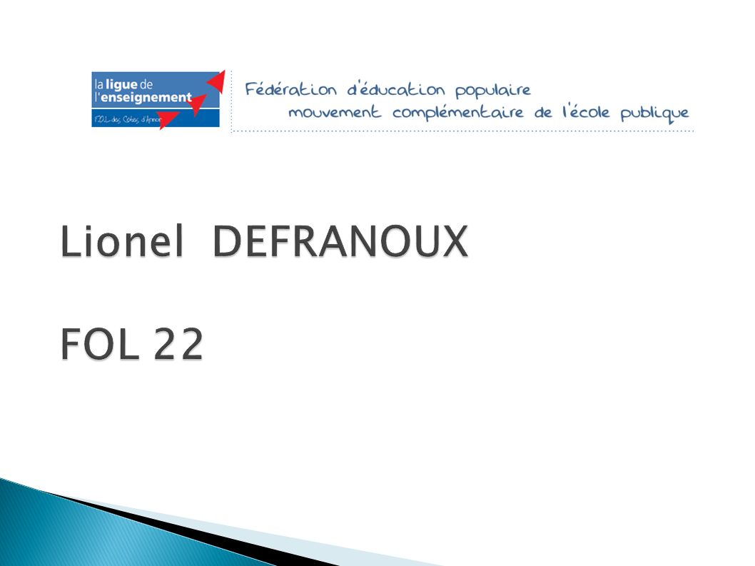 Lionel DEFRANOUX FOL 22 Introduction LionelFOL 22