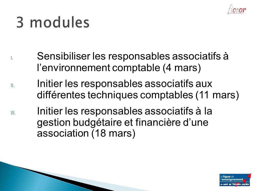 3 modules Sensibiliser les responsables associatifs à l'environnement comptable (4 mars)