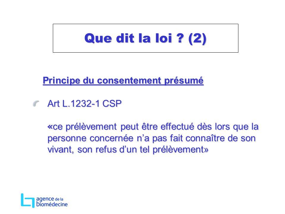 Que dit la loi (2) Principe du consentement présumé Art L.1232-1 CSP