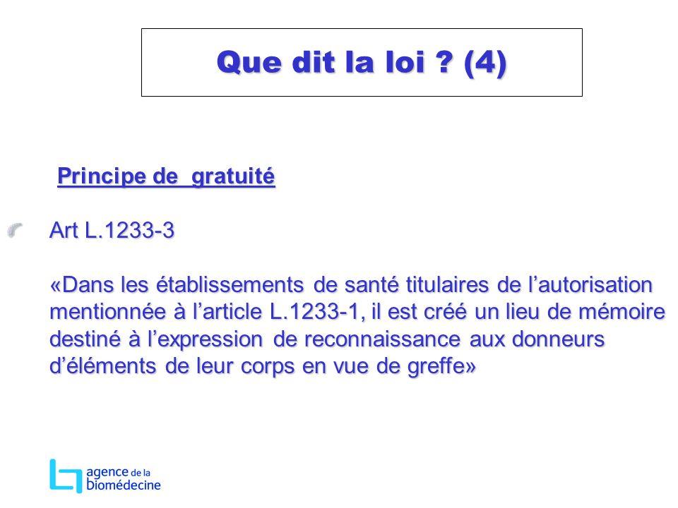 Que dit la loi (4) Principe de gratuité Art L.1233-3