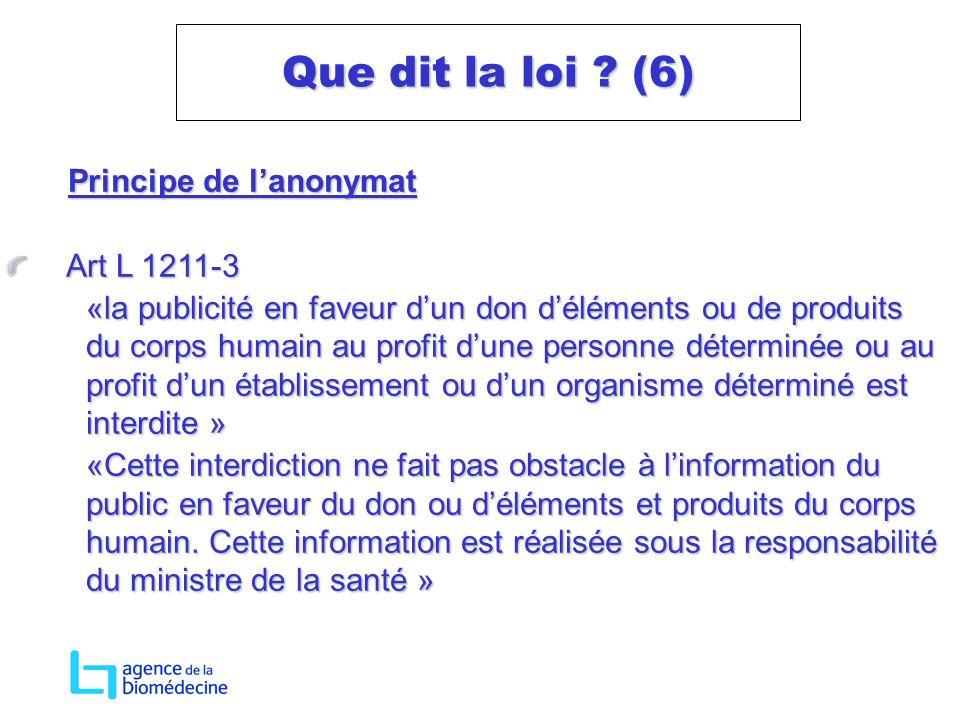 Que dit la loi (6) Principe de l'anonymat Art L 1211-3