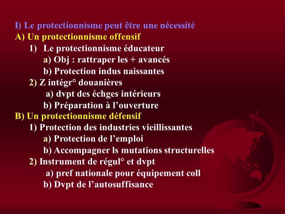 I) Le protectionnisme peut être une nécessité