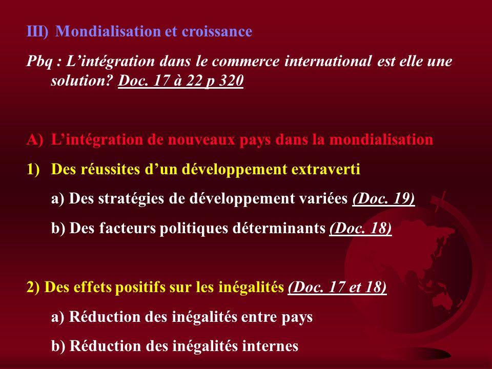 III) Mondialisation et croissance