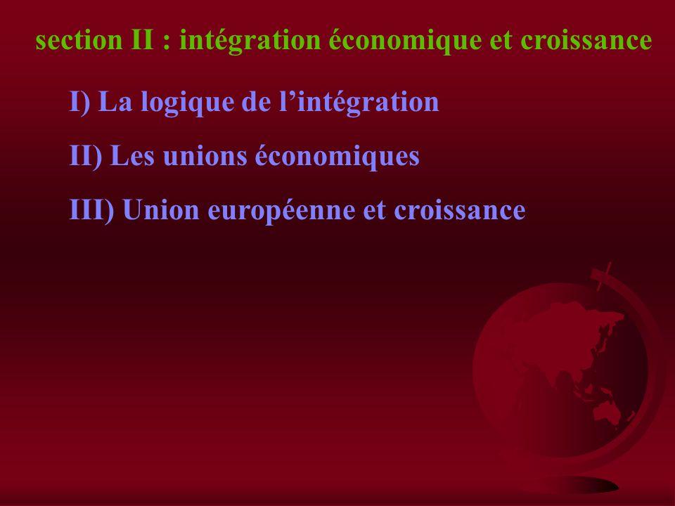 section II : intégration économique et croissance