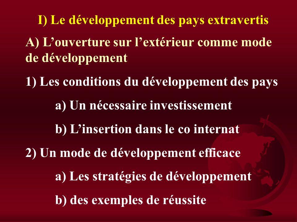 I) Le développement des pays extravertis